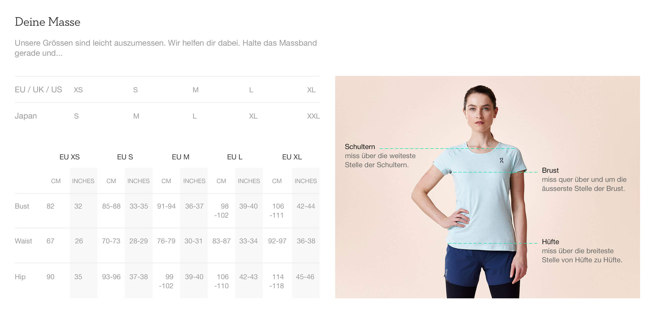 On website product size guide womens apparel de