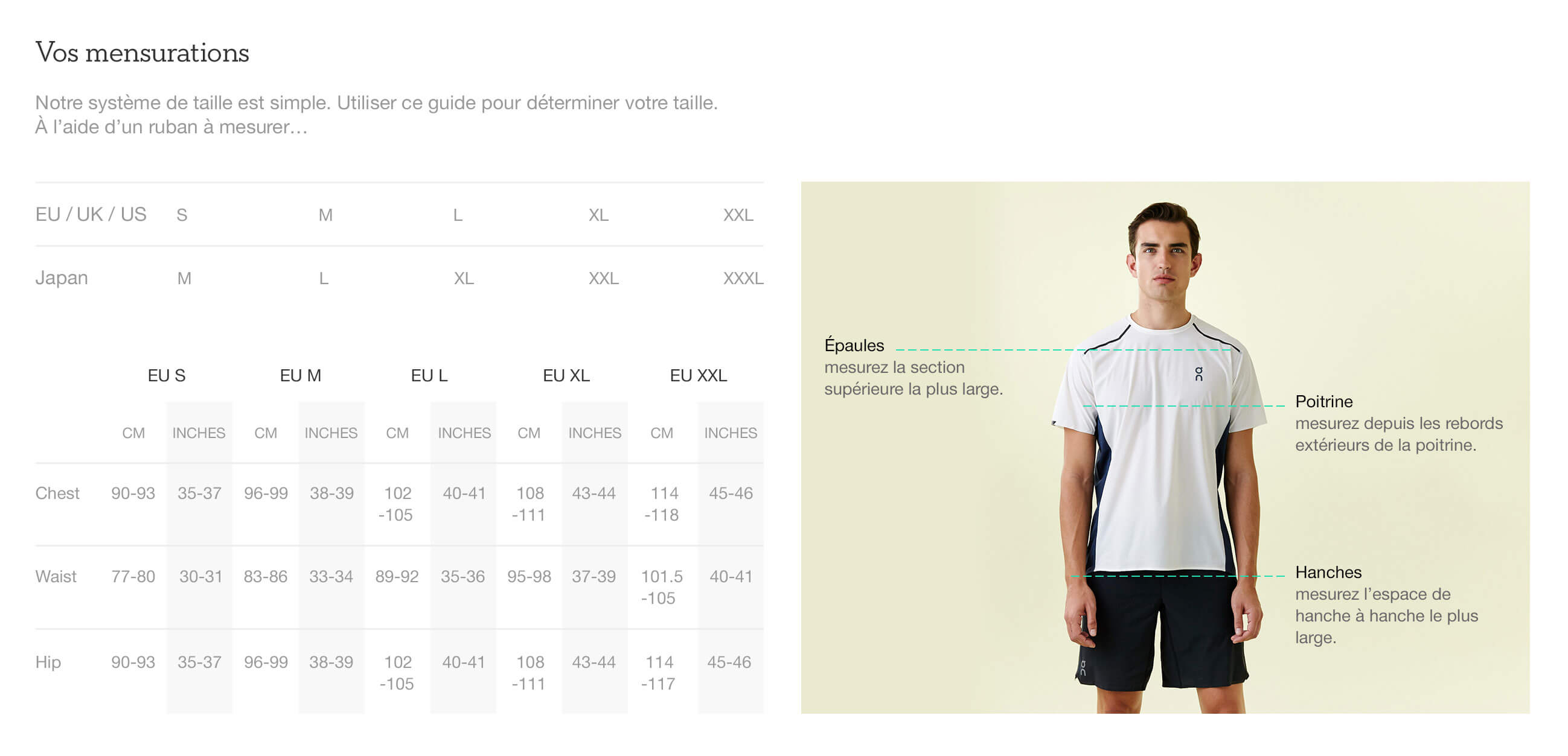 On website product size guide mens apparel fr