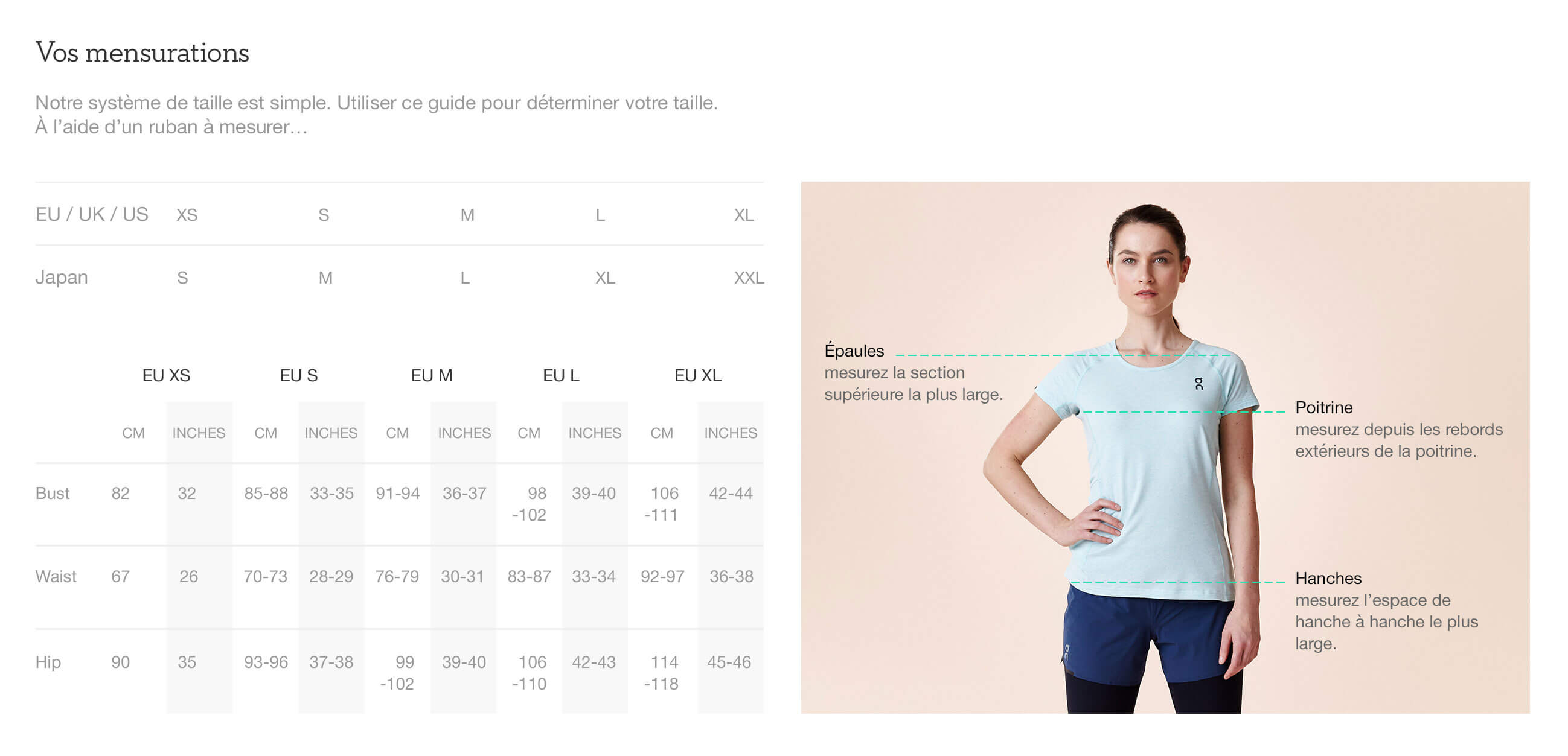 On website product size guide womens apparel fr