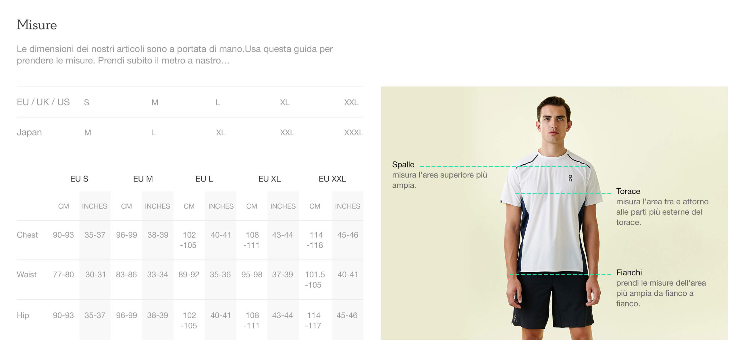 On website product size guide mens apparel it