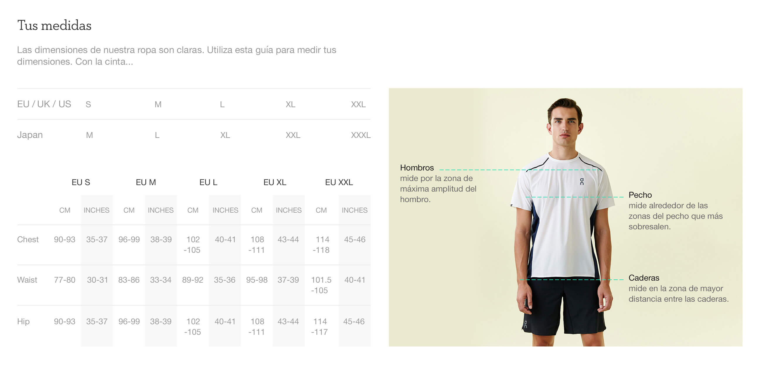 On website product size guide mens apparel es