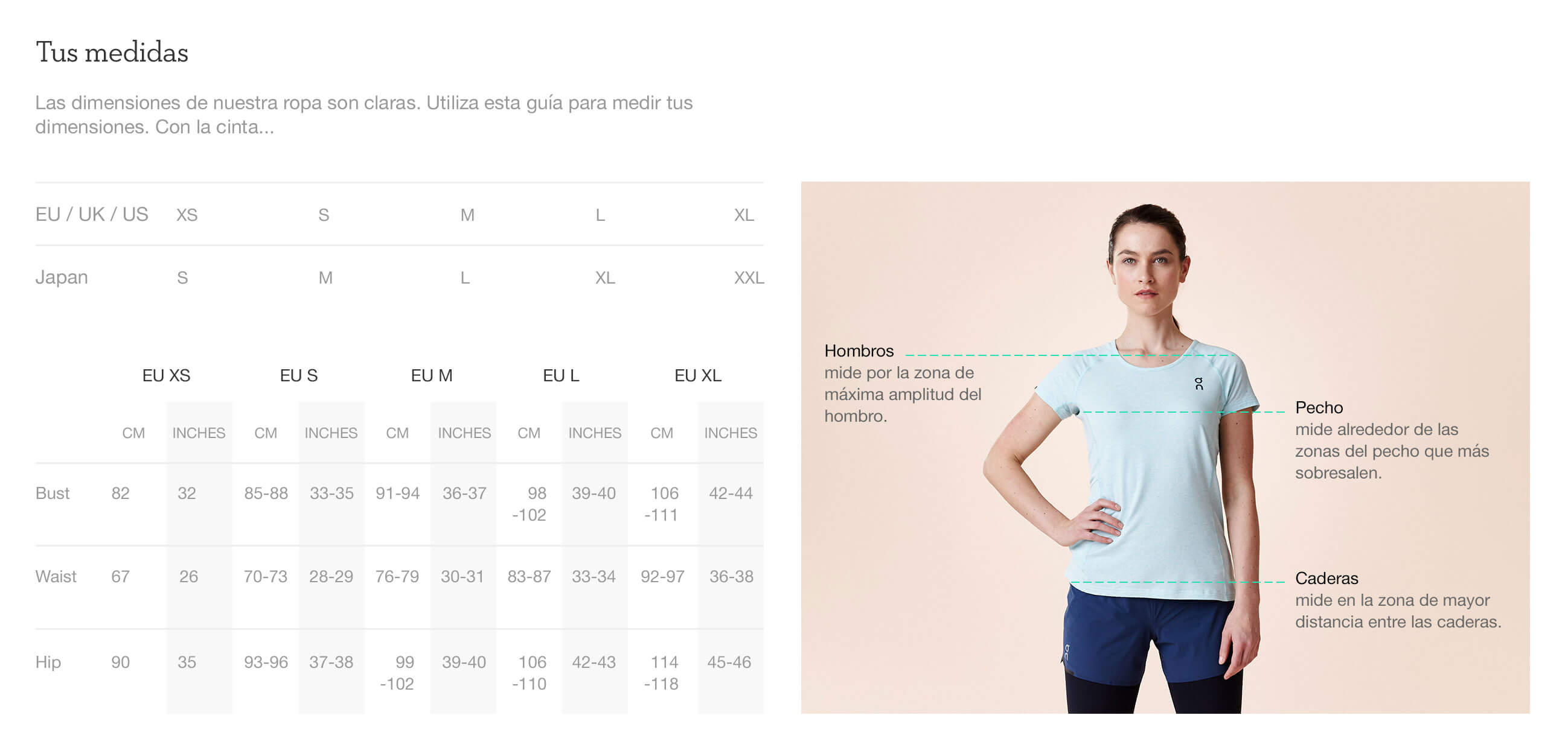 On website product size guide womens apparel es